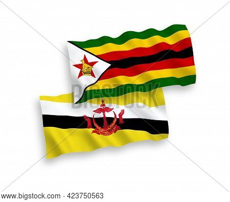 National Fabric Wave Flags Of Brunei And Zimbabwe Isolated On White Background. 1 To 2 Proportion.