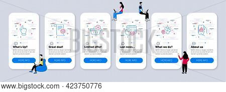 Business Icons Set. Ui Phone App Screens With Teamwork. Included Icon As Gift, Delete Purchase, Tech