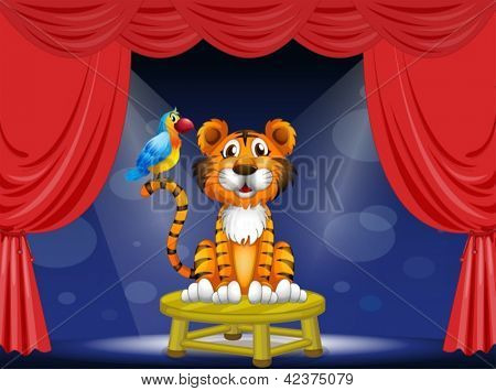 Illustration of a tiger and a parrot in the circus