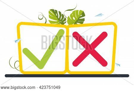 Button Tick And Cross Sign With Leafs On The Background . Vote, Election Choice, Checkmarks. Checkli