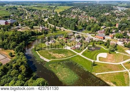 New Well-kept Park For A Walk In Dobele, Latvia, Facilitated Footpath In The City Park, Top View