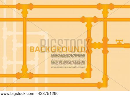 Plumbing Pipes Background. Yellow Tubes Valves Meter Junction On White Background.