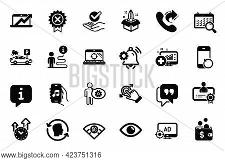 Vector Set Of Technology Icons Related To Quote Bubble, Notification Bell And Eye Icons. Medical Ana