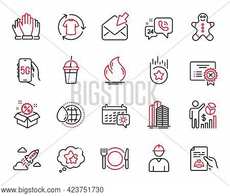 Vector Set Of Business Icons Related To Fire Energy, World Water And Vote Icons. Change Clothes, 5g