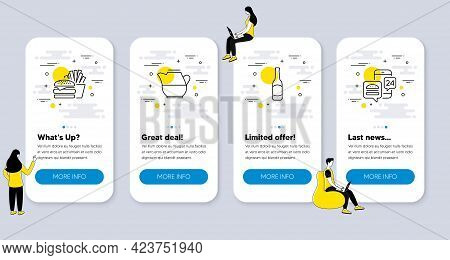 Set Of Food And Drink Icons, Such As Beer, Milk Jug, Burger Icons. Ui Phone App Screens With People.