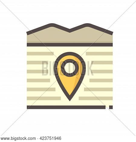 Land And Gps Pin Vector Icon. Consist Of Empty Area, Position Pin Point, Road And Location. Real Est