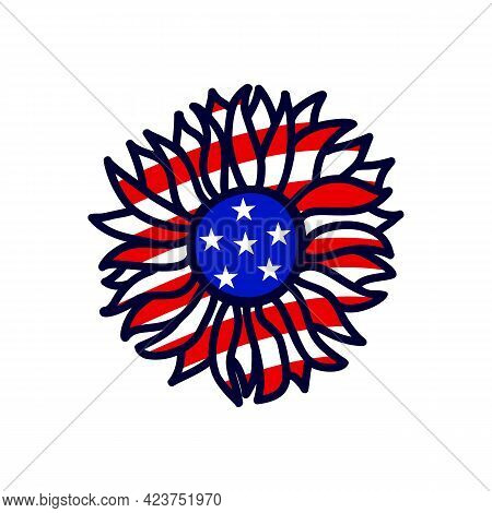 Handdrawing Sunflower Color Of American Flag. Vector Illustration. 4th Of July, Independence Day.
