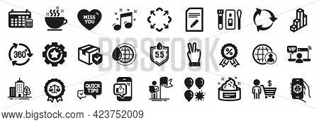 Set Of Simple Icons, Such As Ph Neutral, Vip Access, Covid Test Icons. Musical Note, 3d App, Victory
