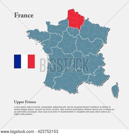 Vector Map Country France, Region Upper France