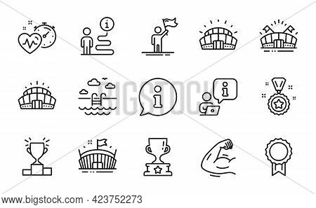 Sports Icons Set. Included Icon As Strong Arm, Arena, Sports Stadium Signs. Reward, Swimming Pool, C