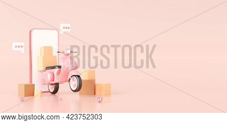 E-commerce Concept, Delivery Service On Mobile Application, Transportation Or Food Delivery By Scoot