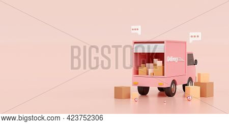 E-commerce Concept, Transportation Shipment Delivery By Truck, 3d Illustration