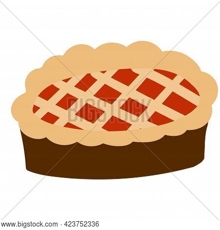 Apple Pie Isolated On White Background. Vector Illustration