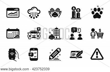 Vector Set Of Construction Building, Internet App And Builders Union Icons Simple Set. Ab Testing, C