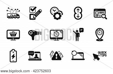 Vector Set Of Seo Timer, Scroll Down And Friends Chat Icons Simple Set. Website Search, Timer And Wa