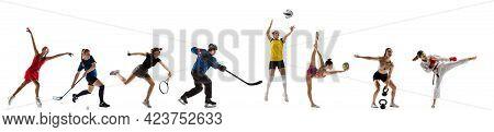 Sport Collage. Tennis, Volleyball, Gymnastics, Floorball, Figure Skating, Hockey, Gymnastics, Taekwo