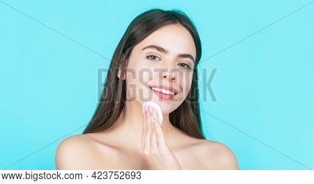 Concept Of Beauty, Health Treatment. Cosmetology And Spa. Using Makeup Sponge. Portrait Woman Using