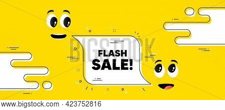 Flash Sale Text. Cartoon Face Chat Bubble Background. Special Offer Price Sign. Advertising Discount