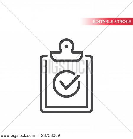 Clipboard With Checkmark Or Tick Line Icon. Outline Vector, Editable Stroke.
