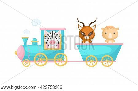 Cute Cartoon Turquoise Train With Zebra Driver And Gazelle, Camel On Waggon On White Background. Des