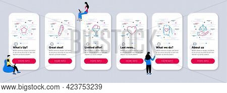 Set Of Business Icons, Such As Love, Twinkle Star, Dating App Icons. Ui Phone App Screens With Teamw