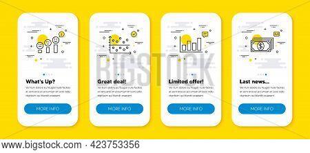 Vector Set Of Customer Satisfaction, Report Diagram And Dot Plot Line Icons Set. Ui Phone App Screen