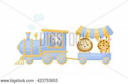 Cute Cartoon Blue Train With Rhino Driver And Lion, Giraffe On Waggon On White Background. Design Fo