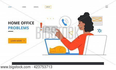 Remote Work Disadvantages. Home Office Problems. Procrastination, Deadline Missing. Female Character