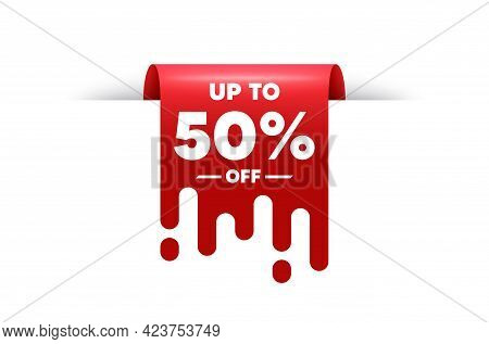 Up To 50 Percent Off Sale. Red Ribbon Tag Banner. Discount Offer Price Sign. Special Offer Symbol. S