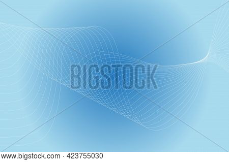 Abstract Background With Curved Wavy Lines. Vector Illustration For Design. Wave From Line And Blue