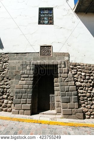 Twelve Angles Stone, Beautiful Narrow Street And Buildings Wall In Centre Of Cusco Or Cuzco City, Pe