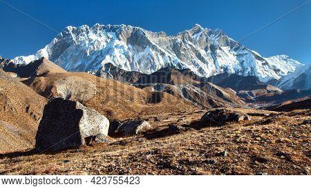 Mount Lhotse And Nuptse South Rock Face - Way To Everest Base Camp, Three Passes Trek, Everest Area,