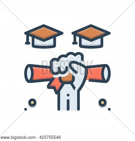 Color Illustration Icon For Gradutaion  Scholarship Certificate Diploma Success Education
