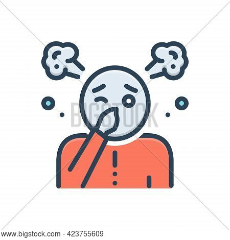 Color Illustration Icon For Funk Stink Fetor Malodor Mephitis Smell