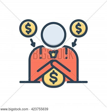 Color Illustration Icon For Fundraiser Charity  Donate Benefaction Pittance