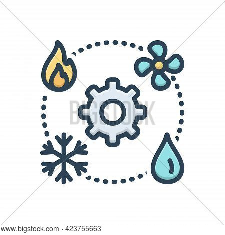 Color Illustration Icon For Hvac  Technician Heating Ventilation Air-conditioning Vehicular Environm