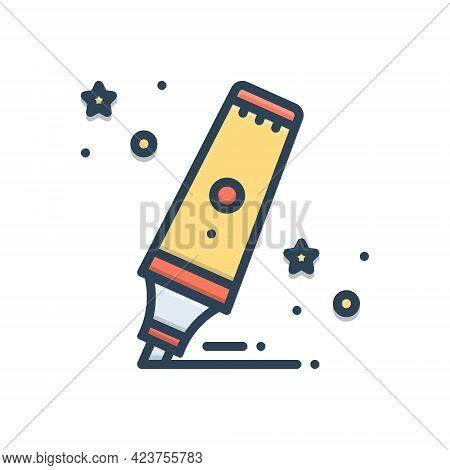 Color Illustration Icon For Highlighter Marker Underline Color Sketch Stationery