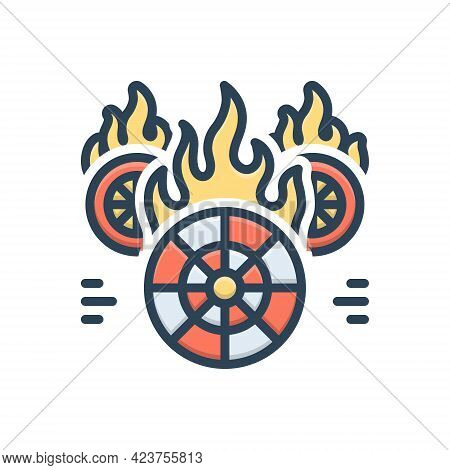 Color Illustration Icon For Hotwheels Fire Burning Wheel Fire-starter Fire-brigade Speed Flame