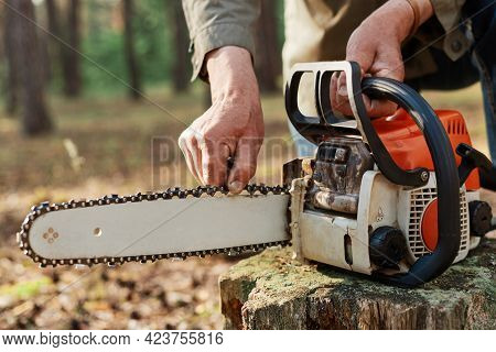 Faceless Logger Preparing Chainsaw For Work, Cheking Saw For Faults, Unknown Logger Forester With Pr