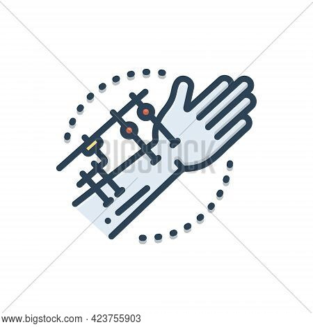 Color Illustration Icon For Fixation Joints Surgeon Hand Technology Orthopedic