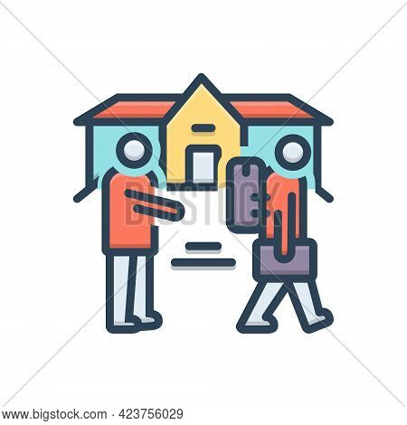 Color Illustration Icon For Eviction Removal Expulsion Ostracism Rustication Ejectment
