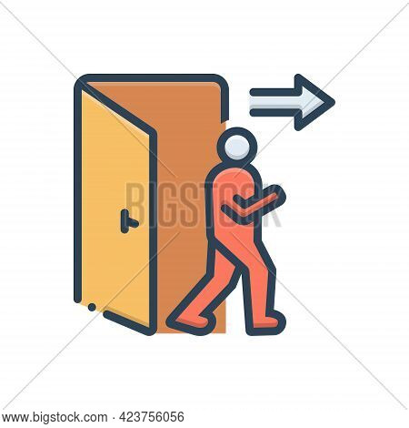 Color Illustration Icon For Exit Egress Evacuation Outturn Vent