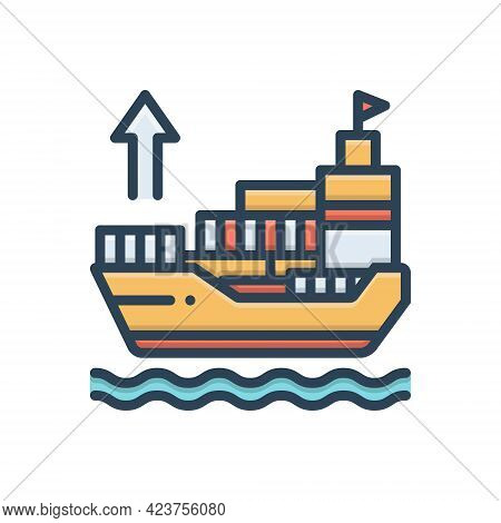 Color Illustration Icon For Exporter Ship Shipping Sailing Export Transport Terminal