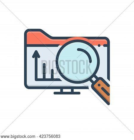 Color Illustration Icon For Exploratory Explorative Research Investigation Inquiry