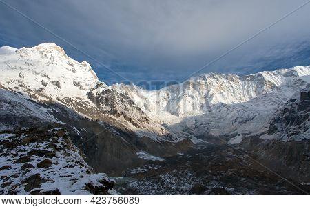 Mount Annapurna From Annapurna South Base Camp, Round Annapurna Circuit Trekking Trail, Nepal Himala