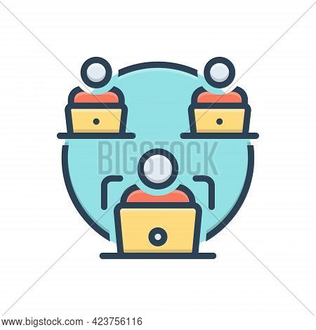 Color Illustration Icon For Facilitate Make-easy Business Laptop Employee Management