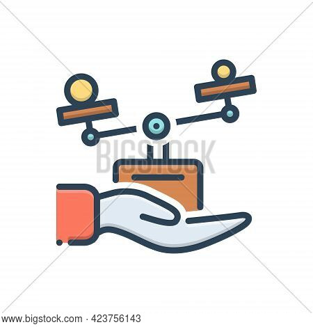 Color Illustration Icon For Ethic Moral Ethical Hand Morality Balance