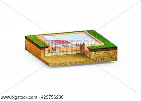 Insulated Reinforced Cement Slab Basement - Isolated Industrial 3d Rendering