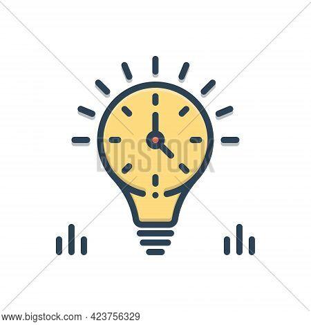 Color Illustration Icon For Enduring Everlasting Perennial Time Management