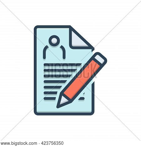 Color Illustration Icon For Enrollment Nomination Recruitment Registration Agreement